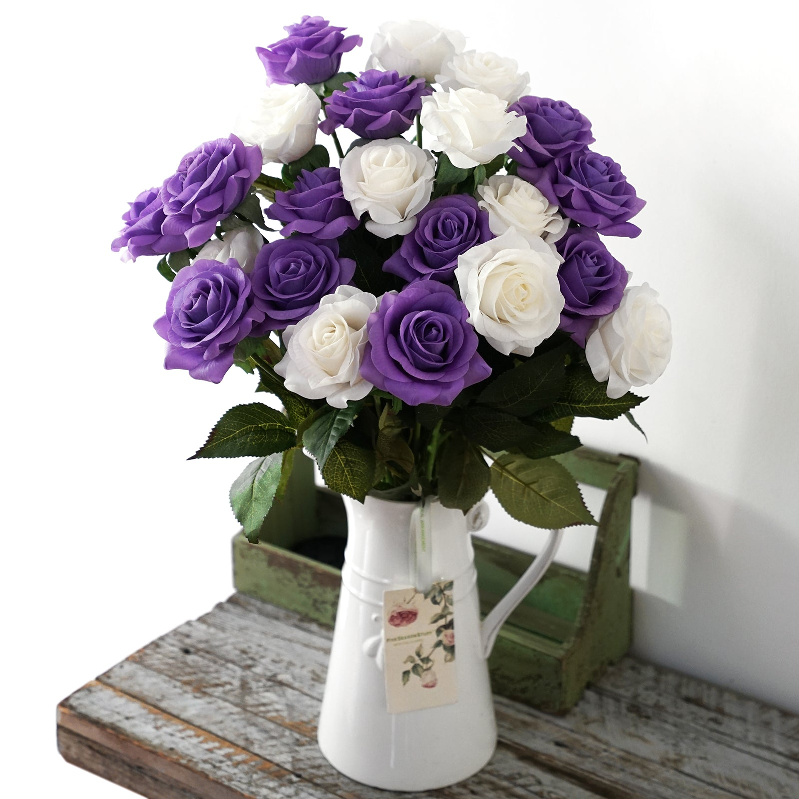 Real Touch 10 Stems Violet Silk Artificial Roses Flowers 'Petals Feel and Look like Fresh Roses'