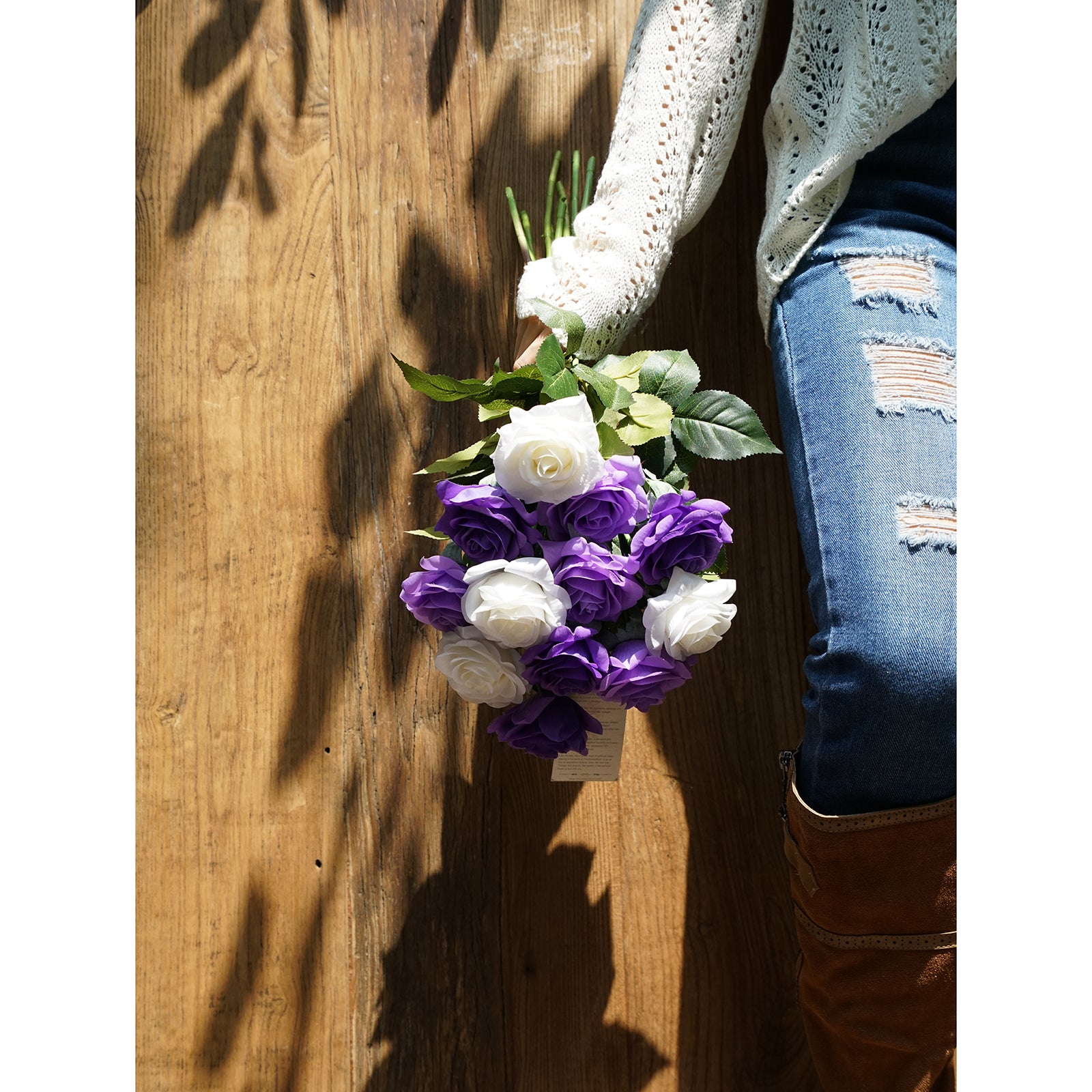 Real Touch 12 Stems Light Purple | White Mix Color Silk Artificial Roses Flowers 'Petals Feel and Look like Fresh Roses'