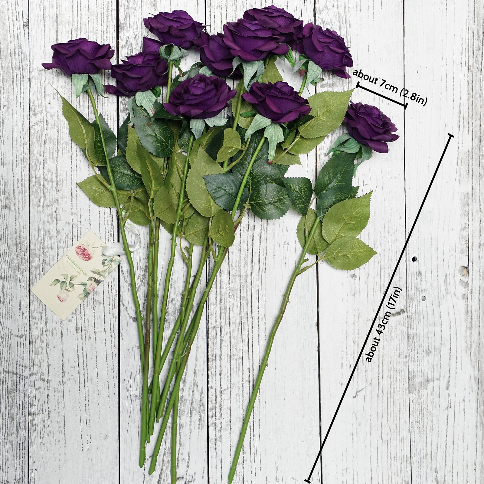 Real Touch 10 Stems Dark Purple Silk Artificial Roses Flowers 'Petals Feel and Look like Fresh Roses'