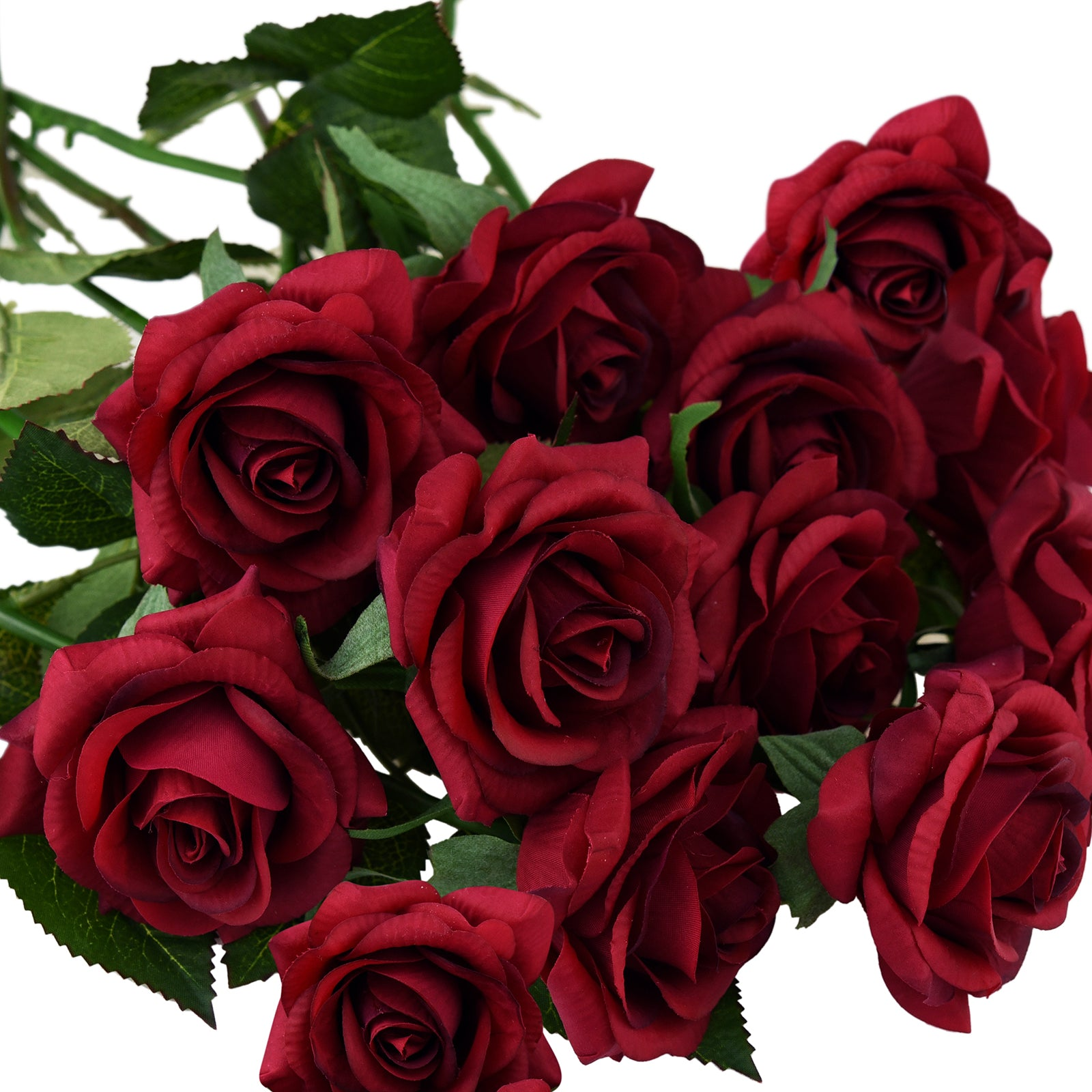Artificial Flowers Real Touch Silk Roses 10 Stems (Dark Scarlet Red)