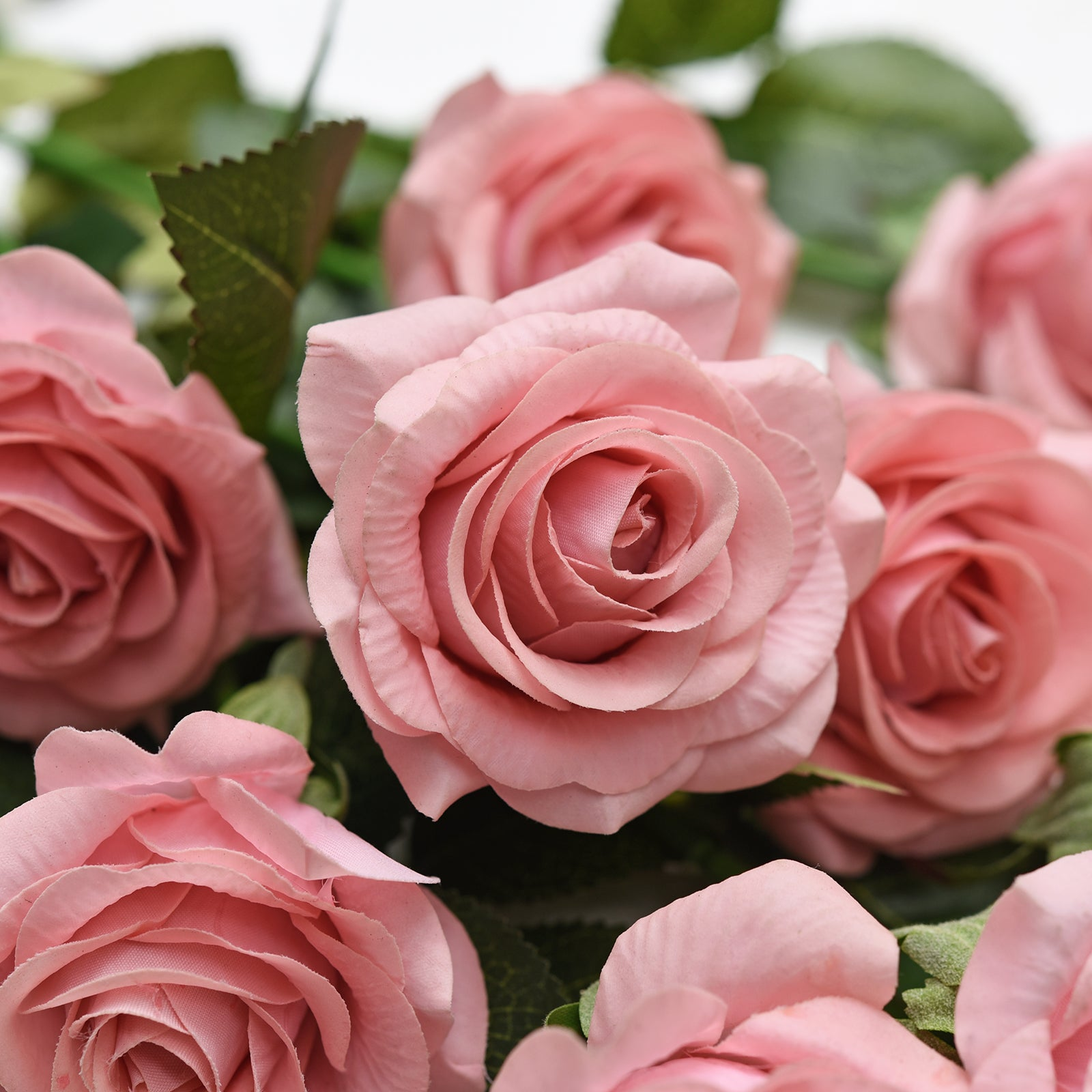 Real Touch 10 Stems Dusty Pink Silk Artificial Roses Flowers 'Petals Feel and Look like Fresh Roses