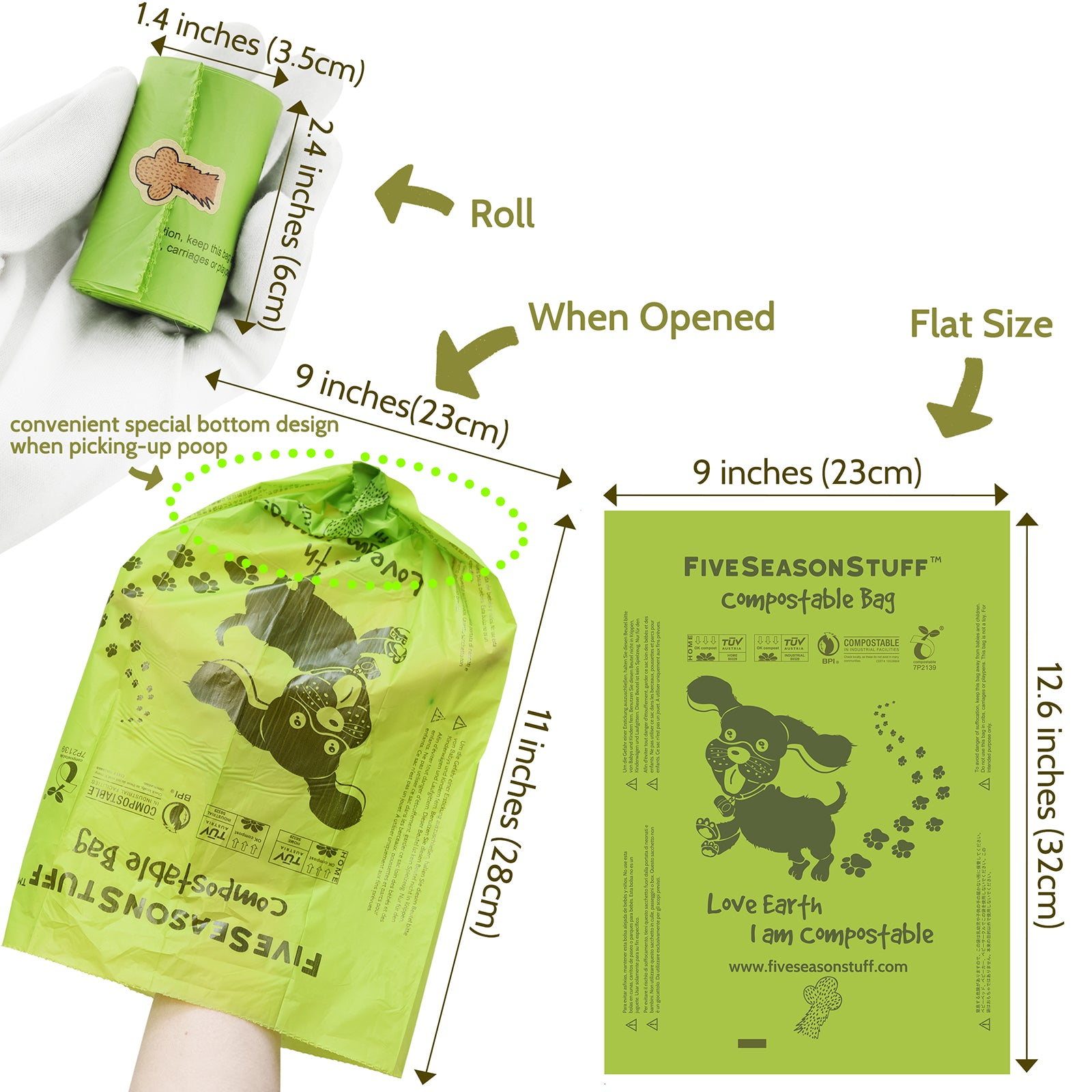 300 Bags and Lease Holder 100% Biodegradable & Compostable Leak Proof Dog Poop Bag (Lavender-Scented)