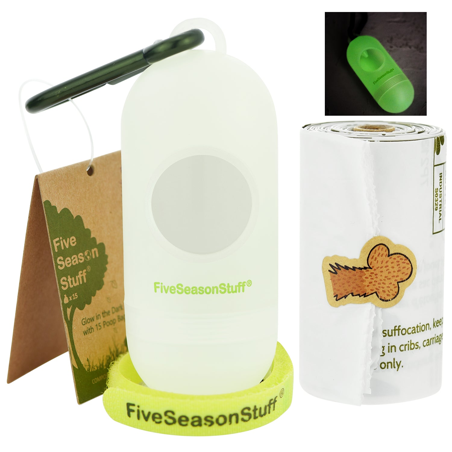 Dog Poop Bag Dispenser(Glow in the Dark) with 1 Roll of (White – Unscented) 100% Biodegradable & Compostable in 3-5 Months — FIVESEASONSTUFF