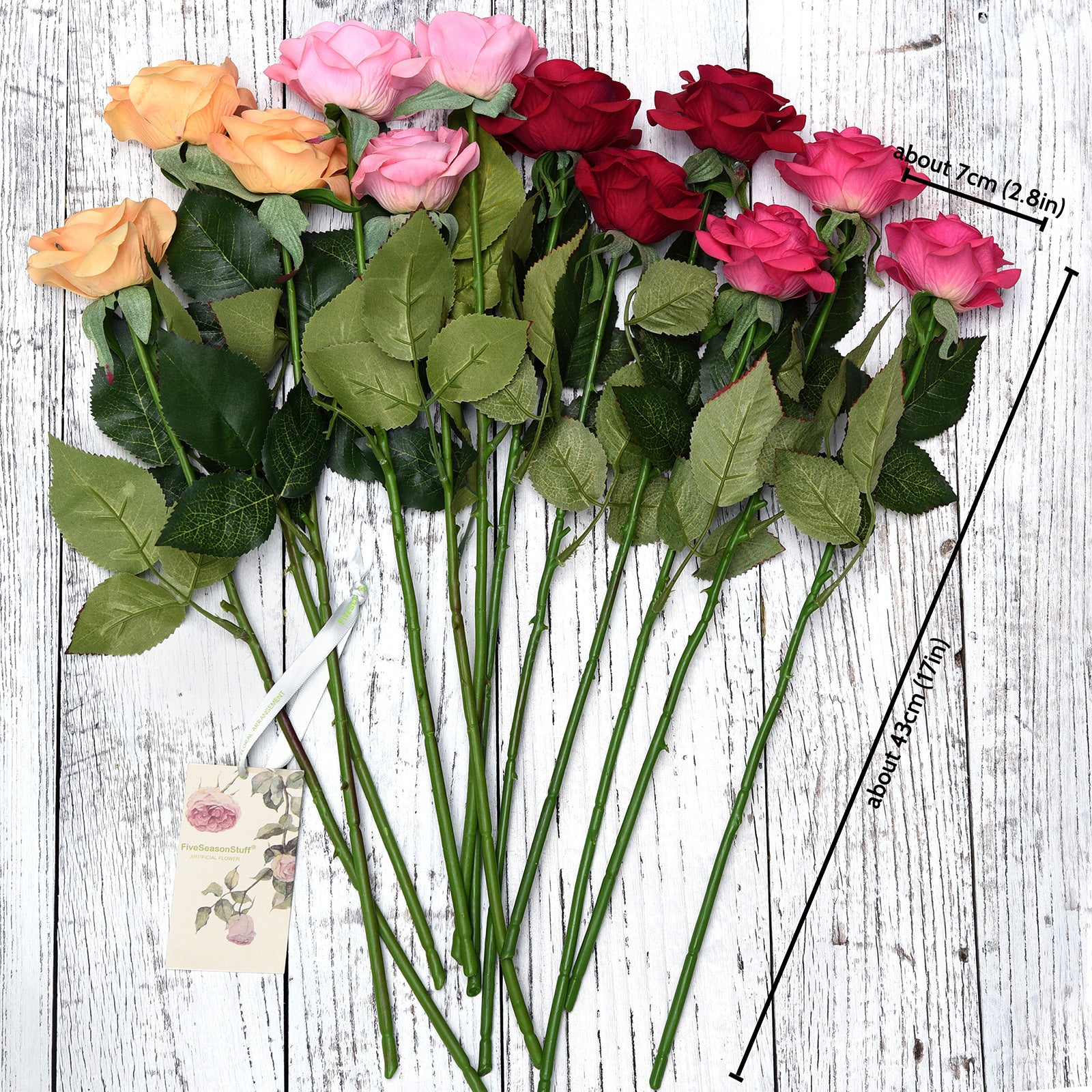 "Real Touch 12 Stems ""Gracious Medley"" Mix Color Silk Artificial Roses Flowers 'Petals Feel and Look like Fresh Roses'"