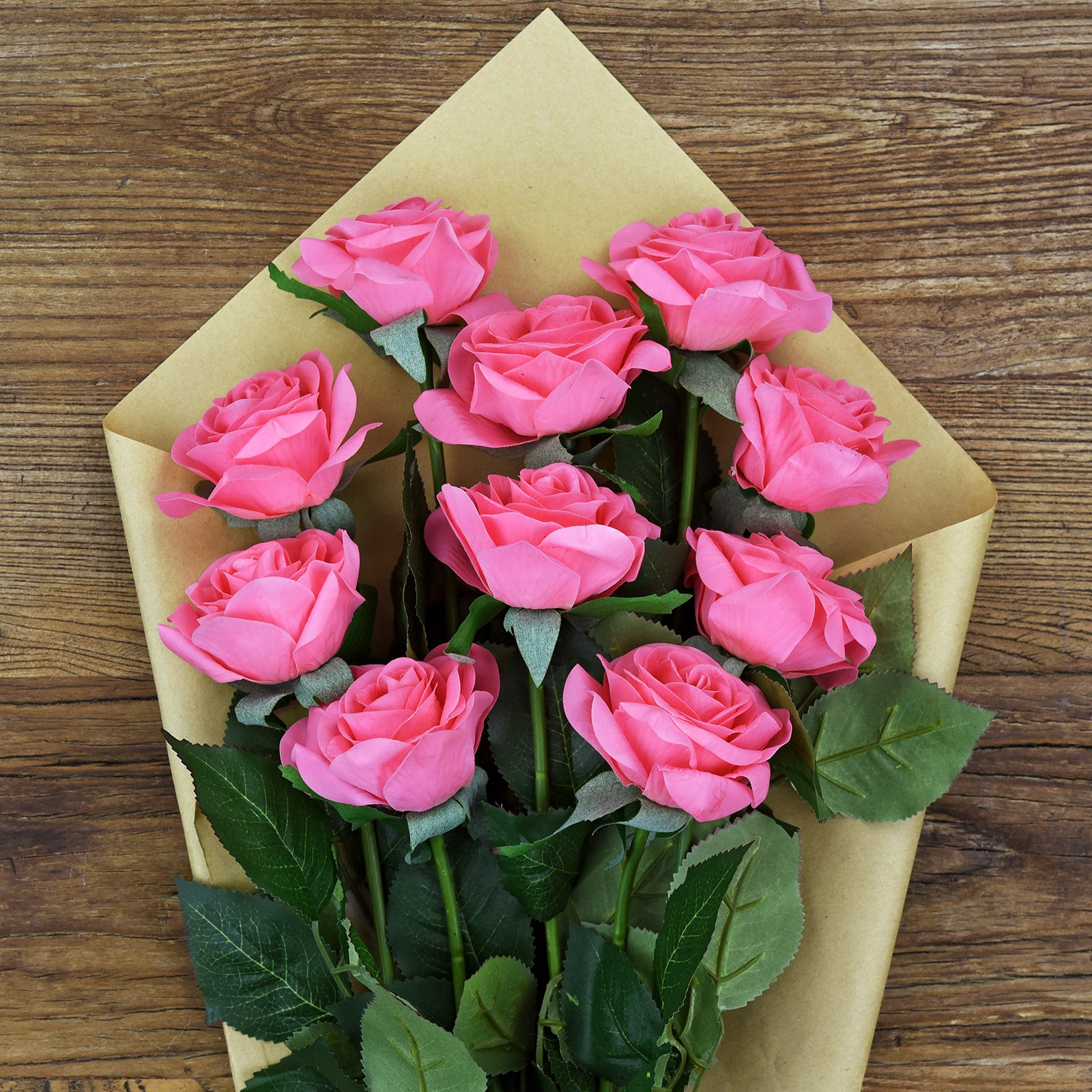 Magenta Pink Real Touch Silk Artificial Flowers 'Petals Feel and Look like Fresh Roses 10 Stems