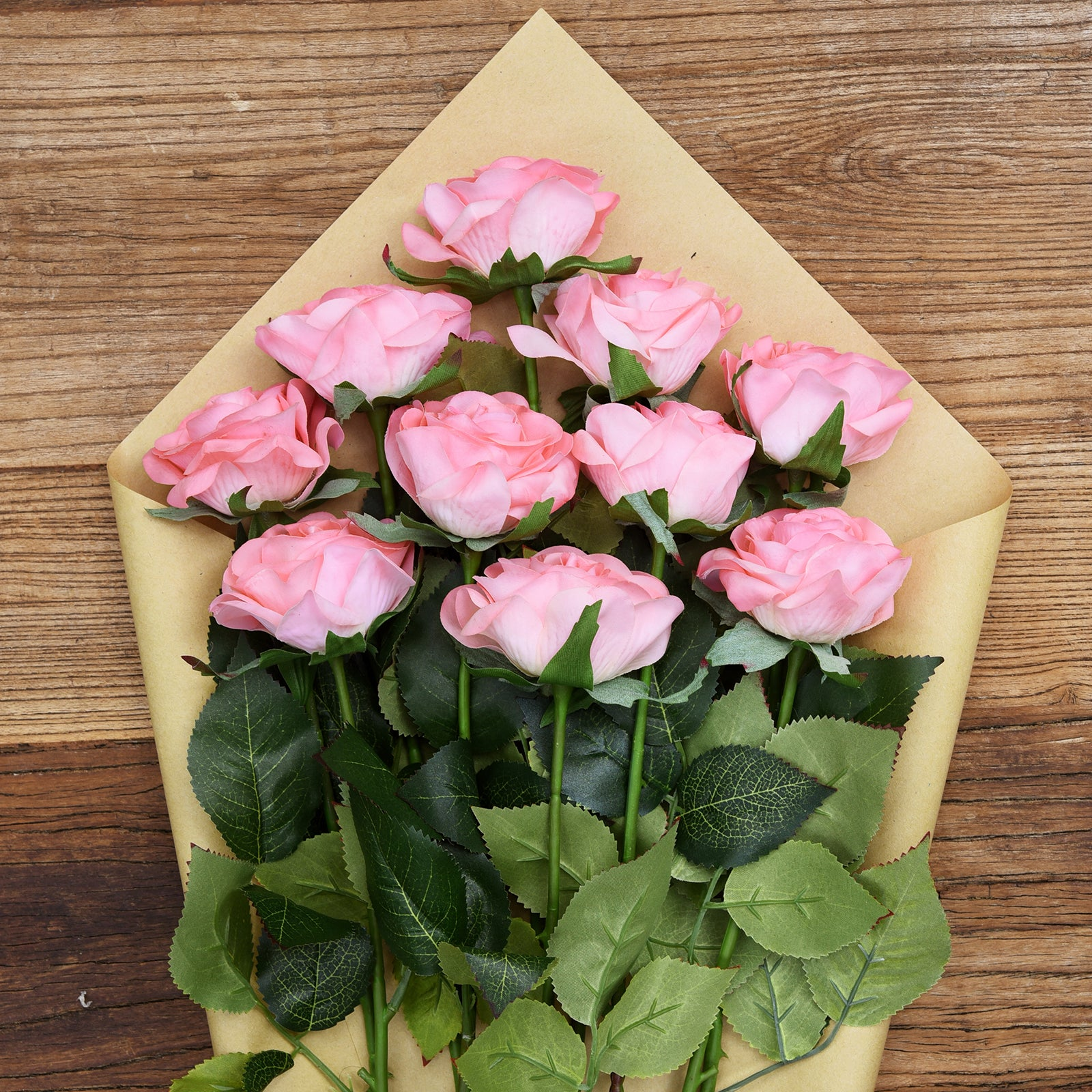 Pink Real Touch Silk Artificial Flowers 'Petals Feel and Look like Fresh Roses 10 Stems