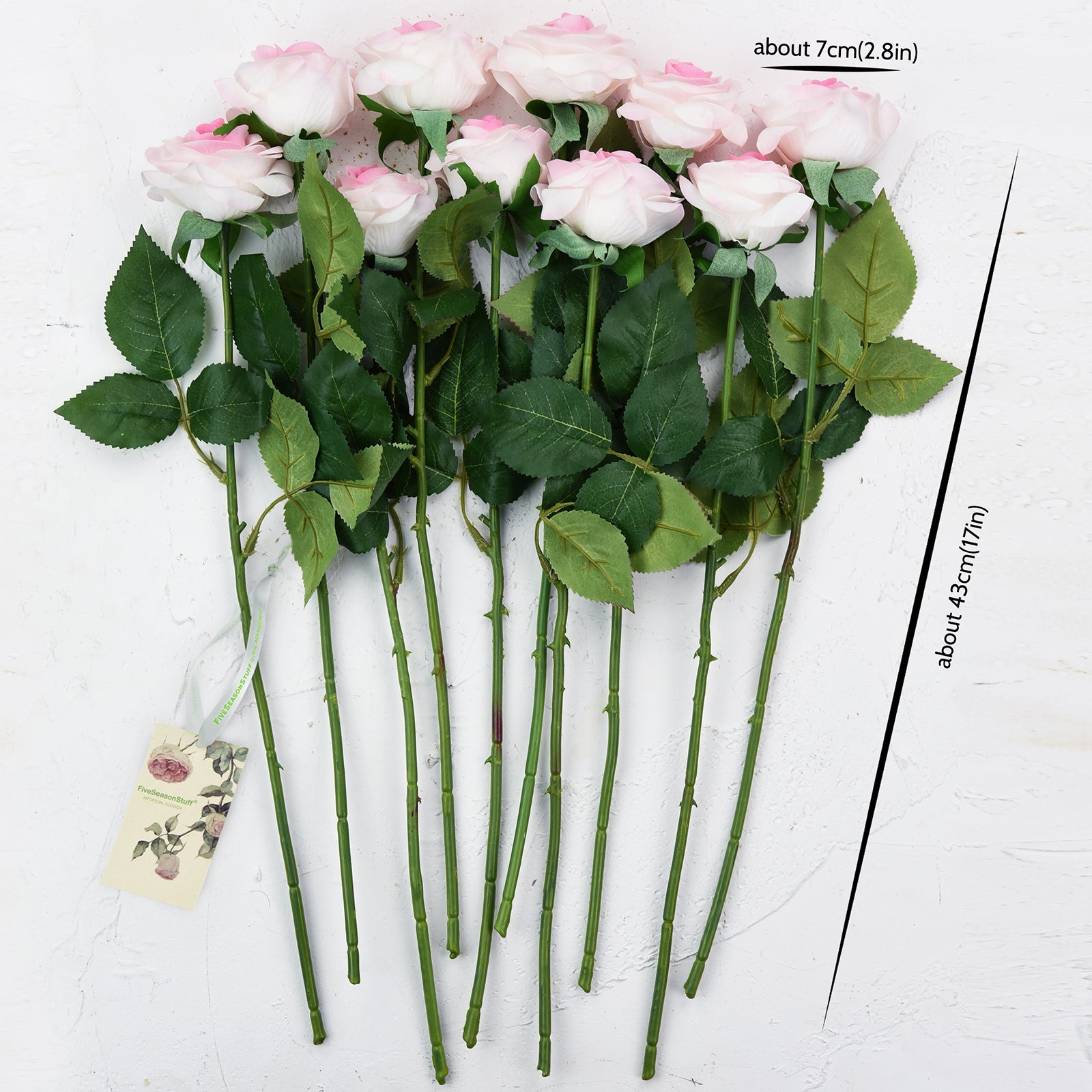 Artificial Flowers Real Touch Silk Roses 10 Stems (White & Pink)