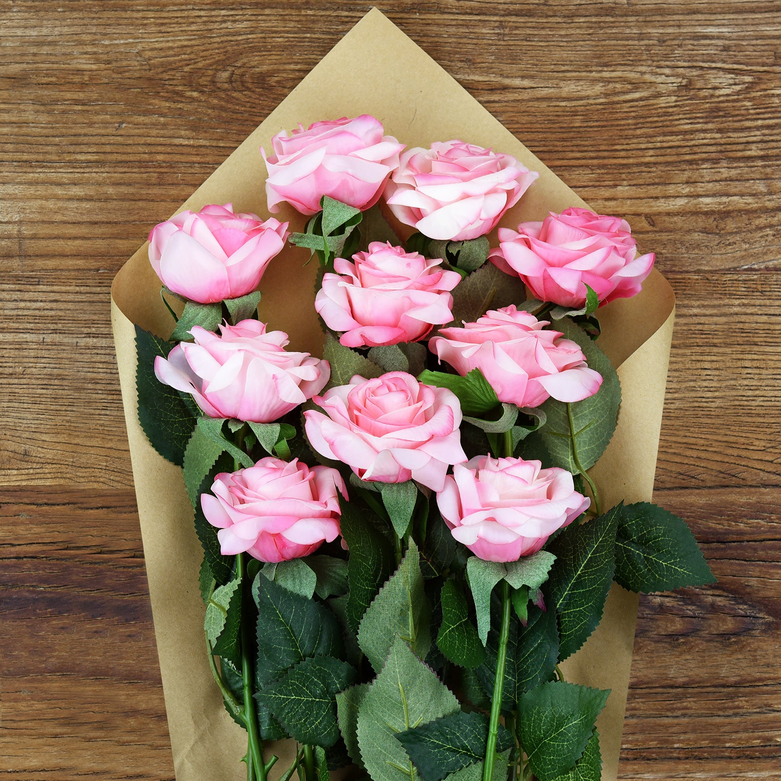 Pink Swirl Real Touch Silk Artificial Flowers 'Petals Feel and Look like Fresh Roses 10 Stems