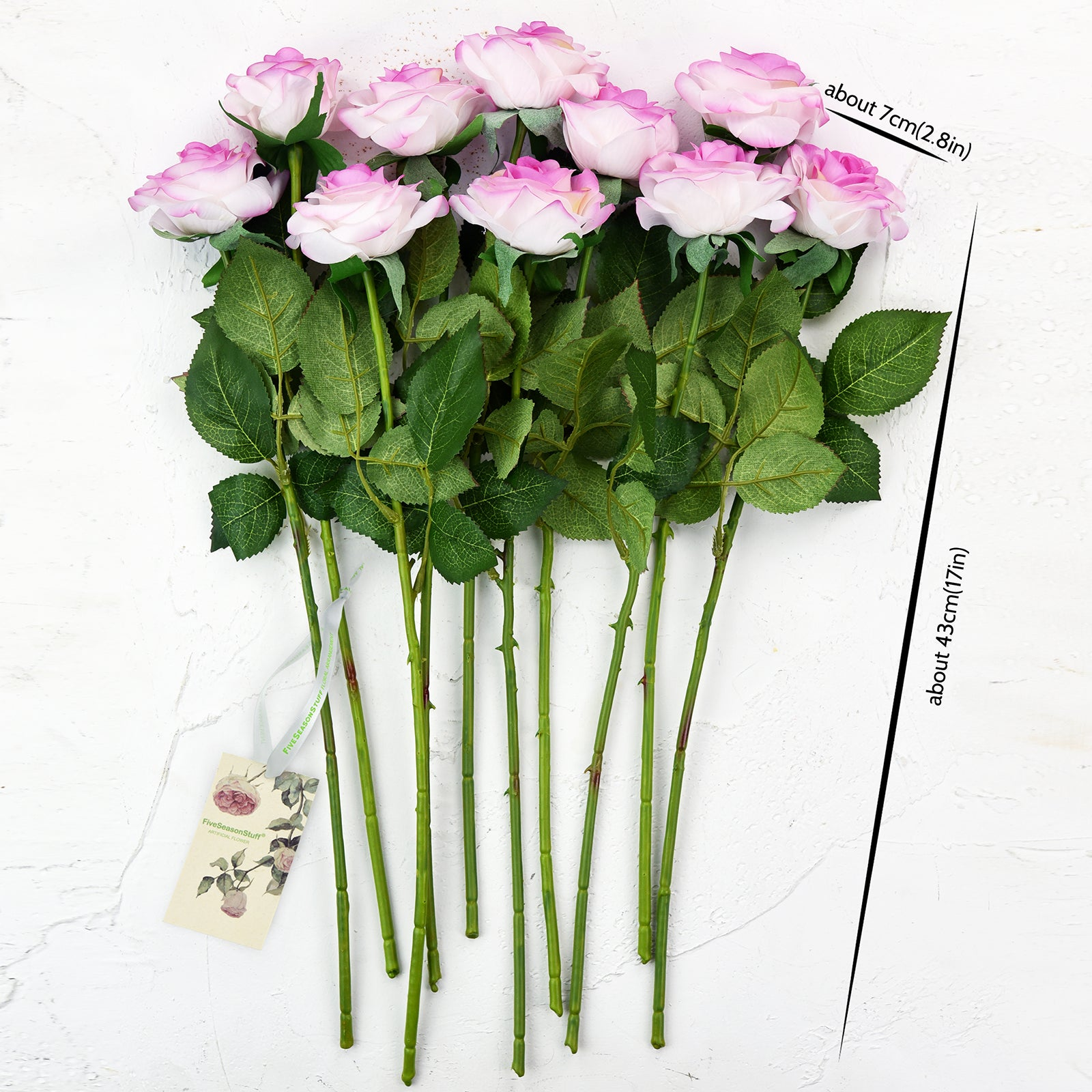 White | Purple Real Touch Silk Artificial Flowers 'Petals Feel and Look like Fresh Roses 10 Stems