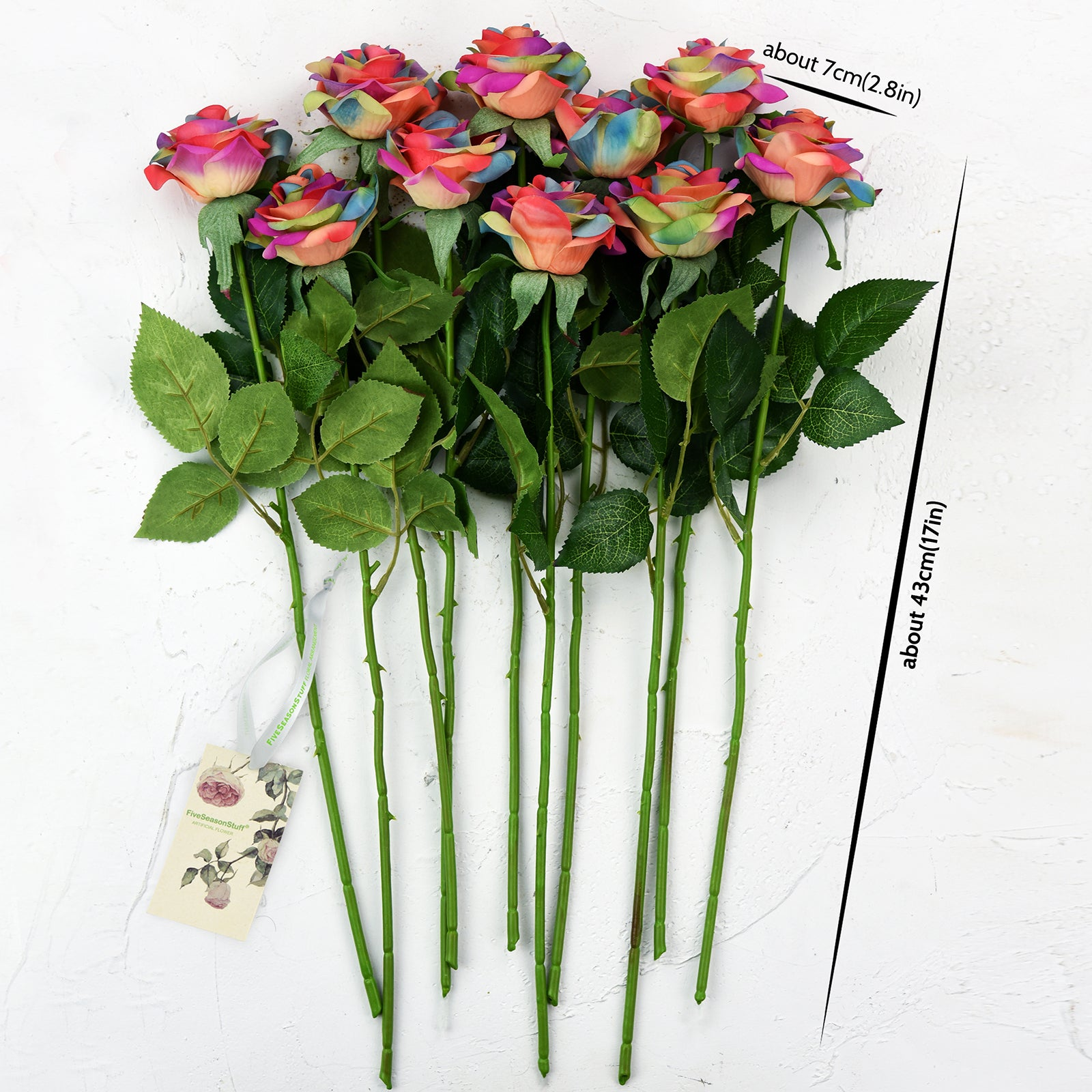 Rainbow Real Touch Silk Artificial Flowers 'Petals Feel and Look like Fresh Roses 10 Stems