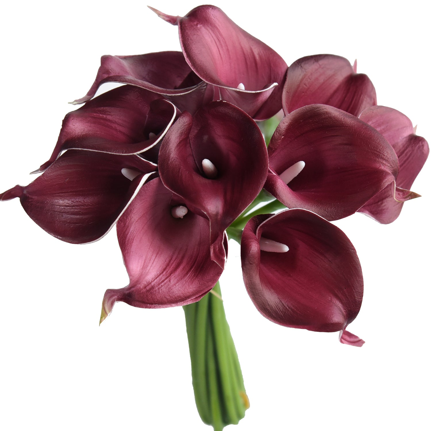 Burgundy red real touch 18 pcs artificial PU Calla Lily flowers 14 inches CA USA Seller