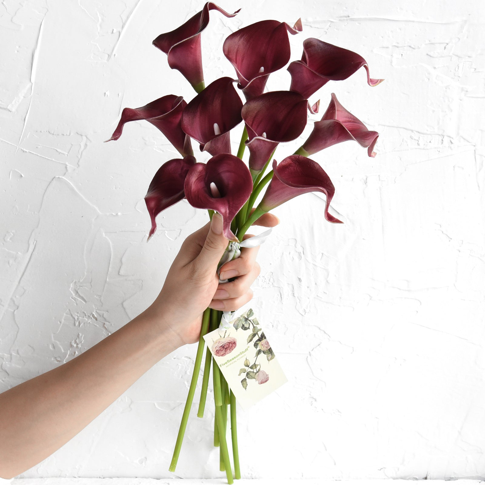 Burgundy Real Touch Calla Lilies Artificial Flower Bouquet 10 Stems