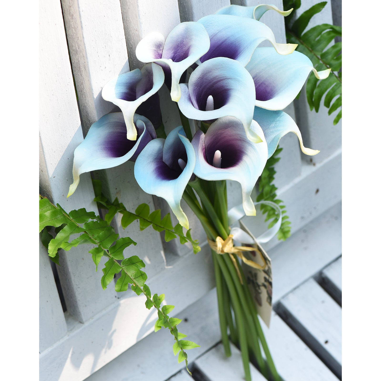 Real Touch Calla Lilies Artificial Flower Bouquet 10 Stems (Arctic Blue & Purple)