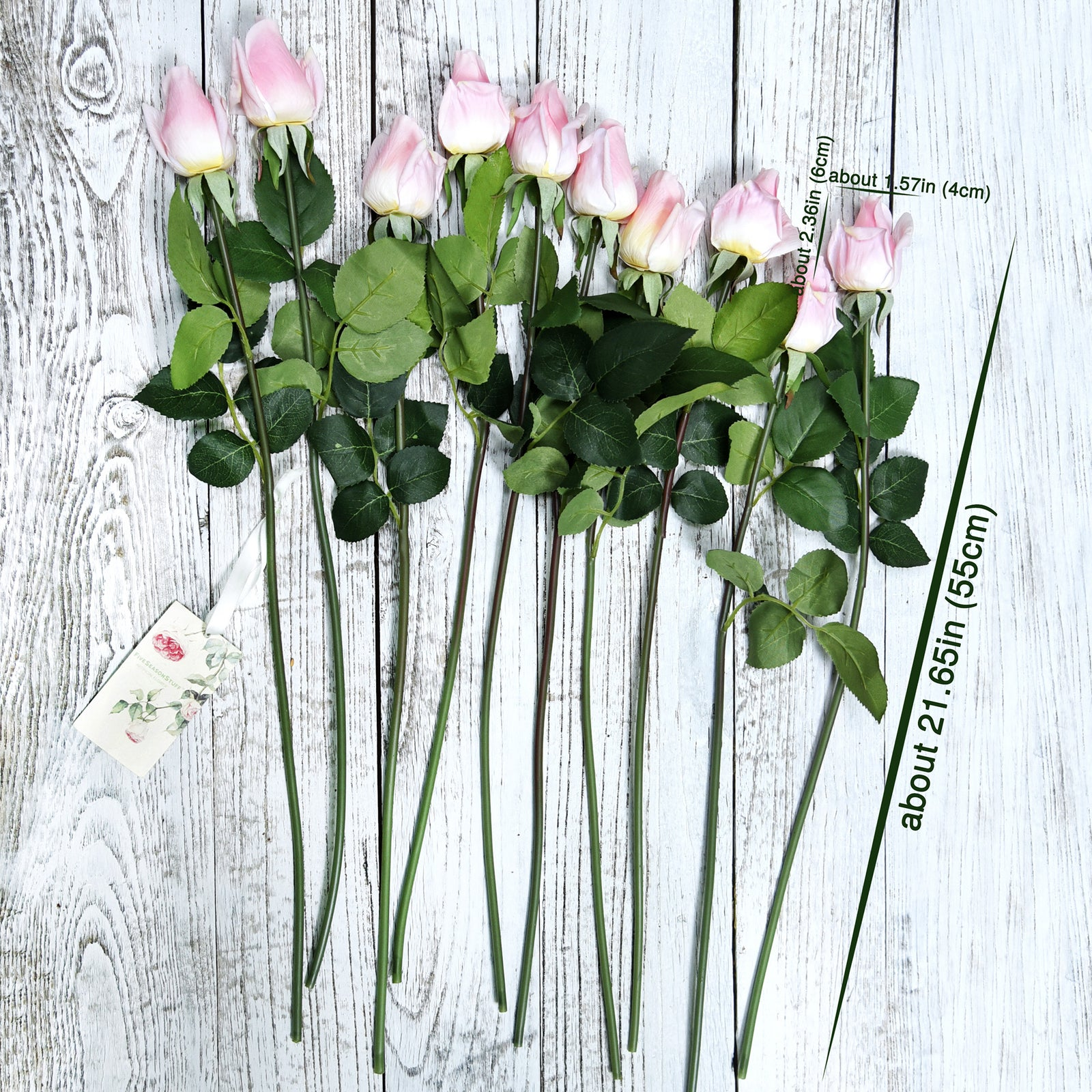 FiveSeasonStuff 10 Long Stems (53cm) of Real Touch Silk Roses 'Petals Feel and Look like Fresh Roses' Artificial Flower Bouquet Floral Arrangement, Perfect for Wedding, Bridal, Party, Home, Office Décor DIY