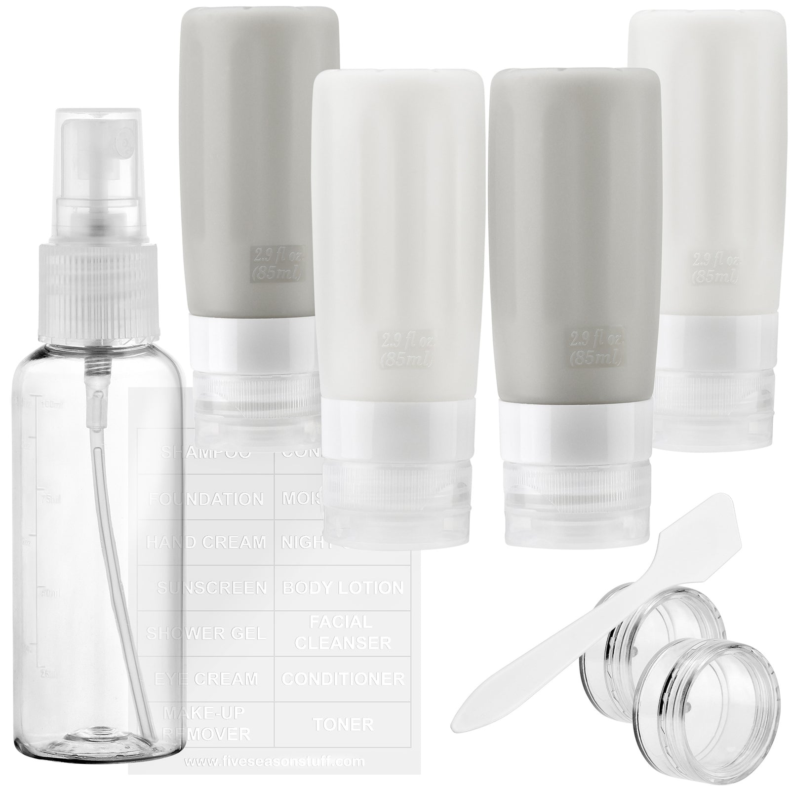 FiveSeasonStuff TSA Approved Silicone Leak Proof Travel Squeeze Bottles and Travel Spray Bottle with TSA Toiletry Bag (7 Pack) Posh (Gray & White)