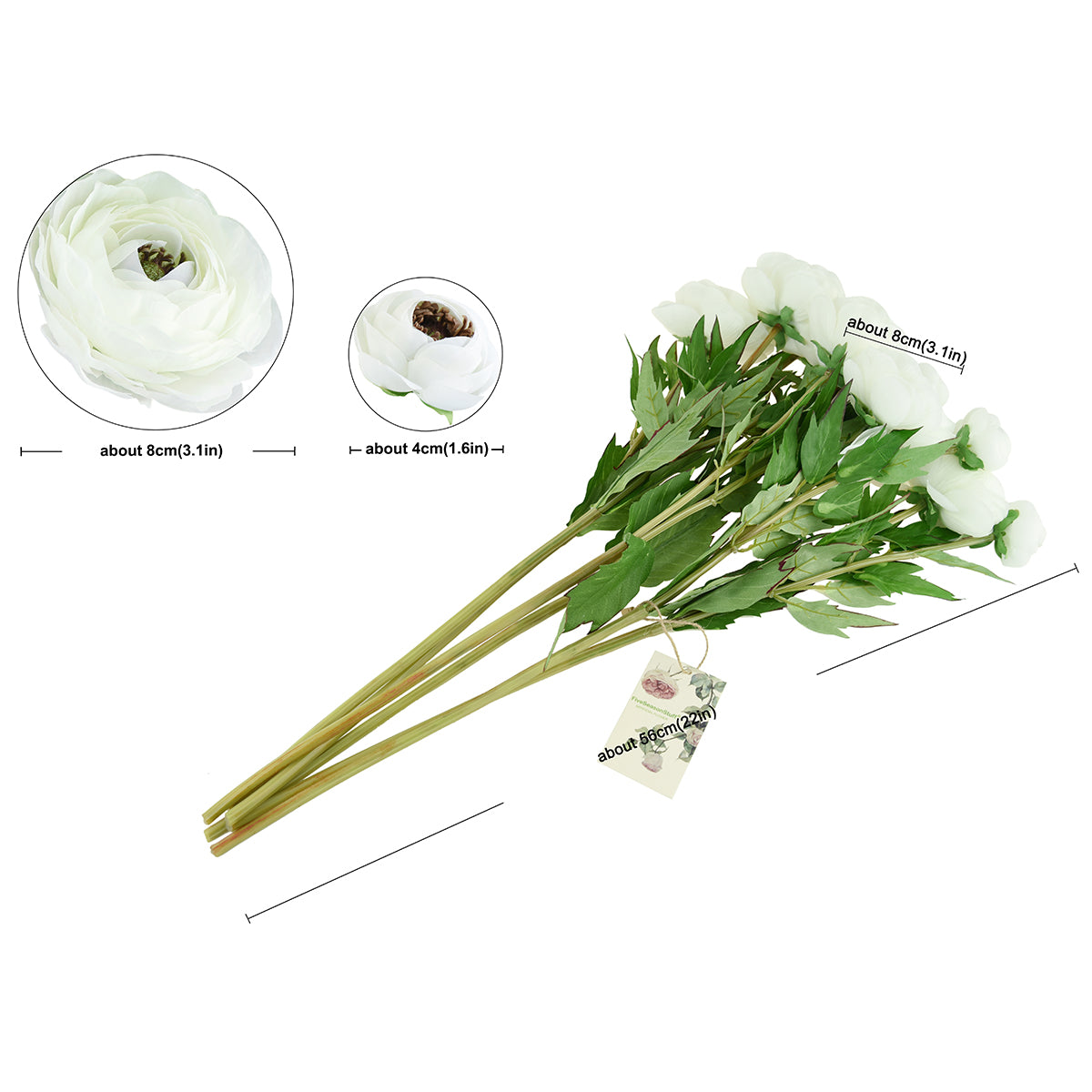 FiveSeasonStuff (6 Stems) Artificial Flowers Silk Persian Buttercup | Ranunculus Asiaticus