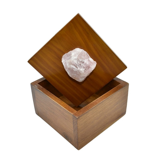 Natural Wooden Boxes with Raw Gemstone on Top