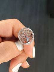 Mystical Tree Of Life Solid Sterling Silver Ring