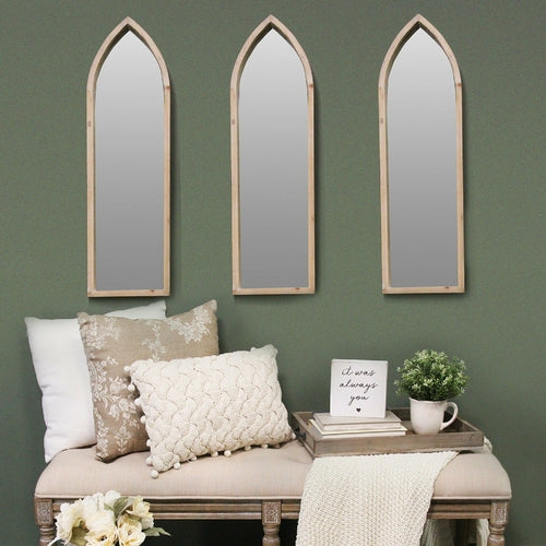 Natural Wood Gothic Inspired Mirror