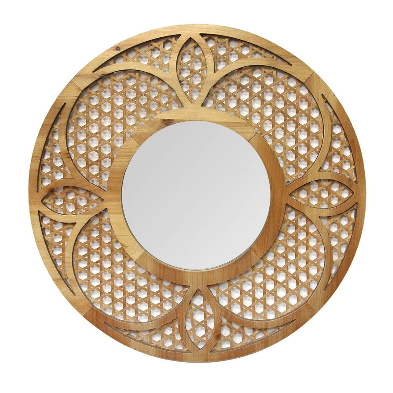 Handcrafted Dark Honey Bamboo Lattice Mirror