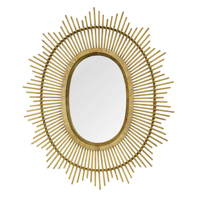 Handcrafter Light Brown Bamboo Oval Mirror