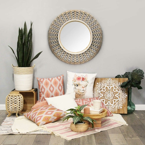 Natural White Bamboo Wood & Rope Mirror