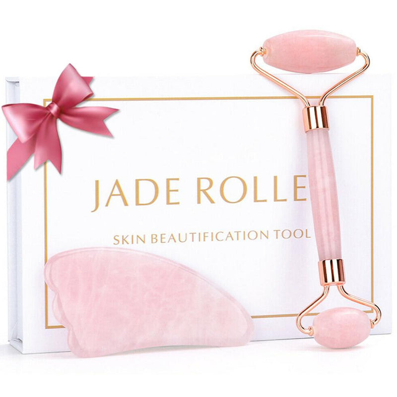 Jade Massage Roller with Rose Quartz Healing Stone