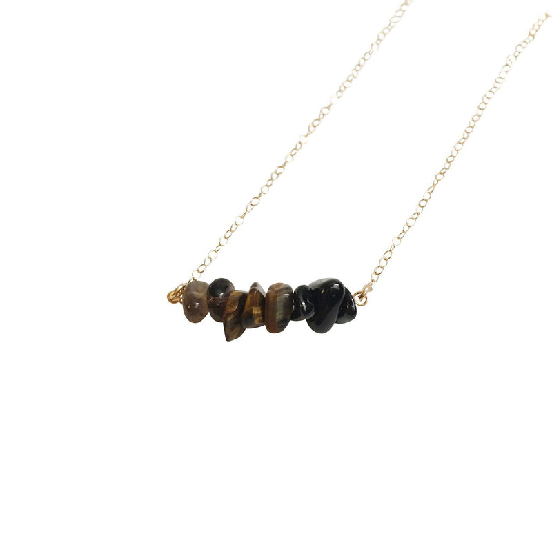 Smoky Quartz, Tiger Eye, & Black Onyx Gemstone Necklace