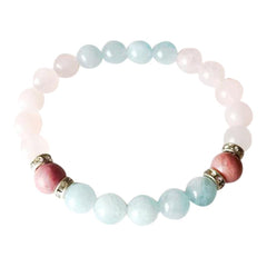 Aquamarine, Rose Quartz, & Rhodonite Sterling Silver Bracelet