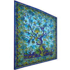 Vibrant Blue Tree of Life Birds Tapestry