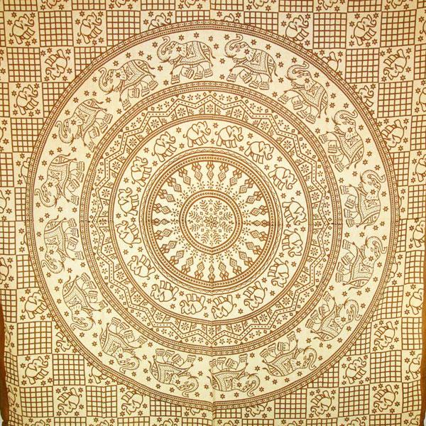 Baby Elephant Mandala Tapestry in Brown