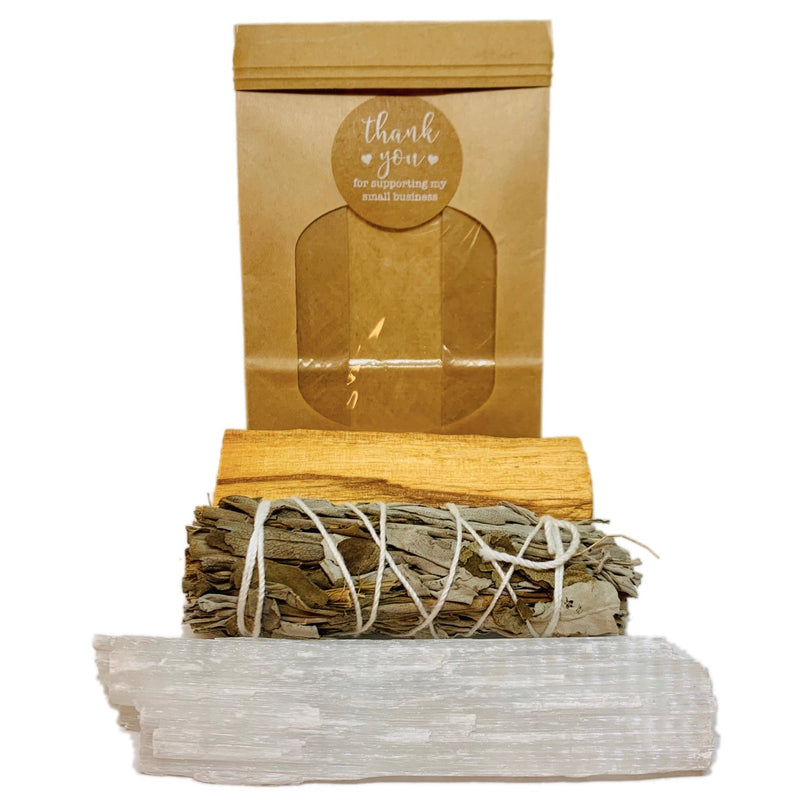Cleanse Trio Selenite, White Sage & Palo Santo