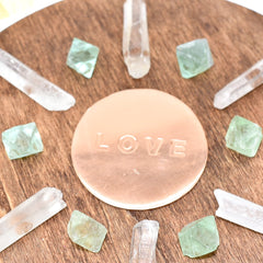 Charged & Handmade LOVE Crystal Grid with Copper Plate and Crystals