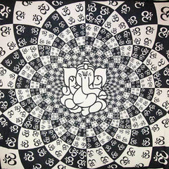 Ganesha On A Lotus & Om Mandala Tapestry