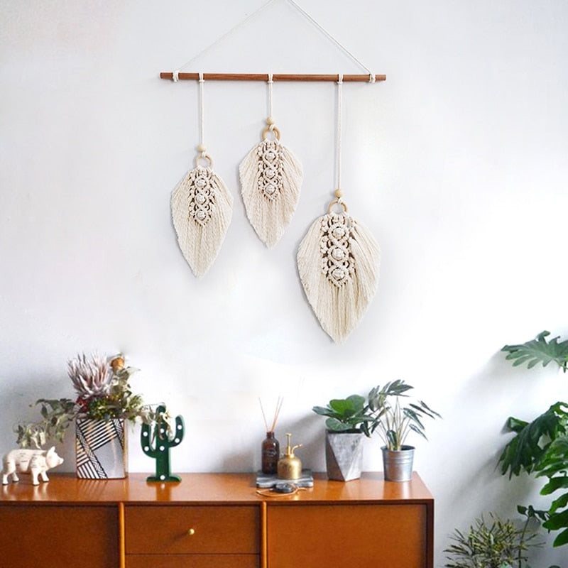 Macrame Handmade Feather Wall Decor