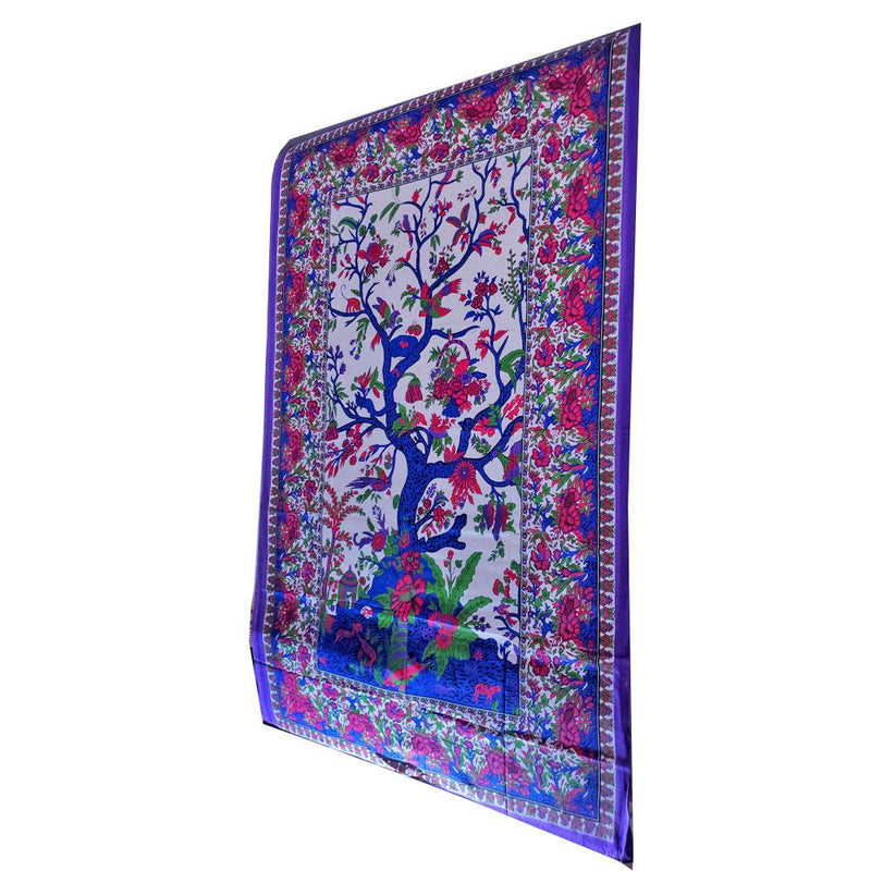 Purple & White Tree of Life with Birds Tapestry