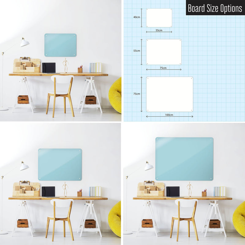 Steel Magnetic Vision Board, Dry Erase Board & Wall Art in Blue