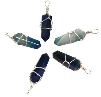 Natural Blue Onyx Wire Wrapped Pendant Point