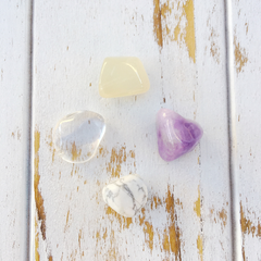 Amethyst, Moonstone, Crystal & White Howlite Easy Dreaming Stone Set