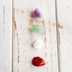 Amethyst, Aventurine, White Howlite & Red Jasper Creativity Stone Set