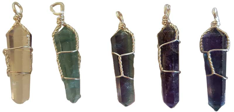 Natural Fluorite Wire Wrapped Point Pendant