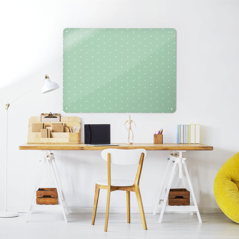 Steel Magnetic Vision Board, Dry Erase Board & Wall Art in Polka Dots