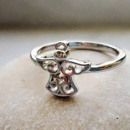 Spiritual Angel's Touch Sterling Silver Ring