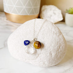 Crystal Quartz, Lapis Lazuli, & Tiger Eye Wire Wrapped Gem Necklace