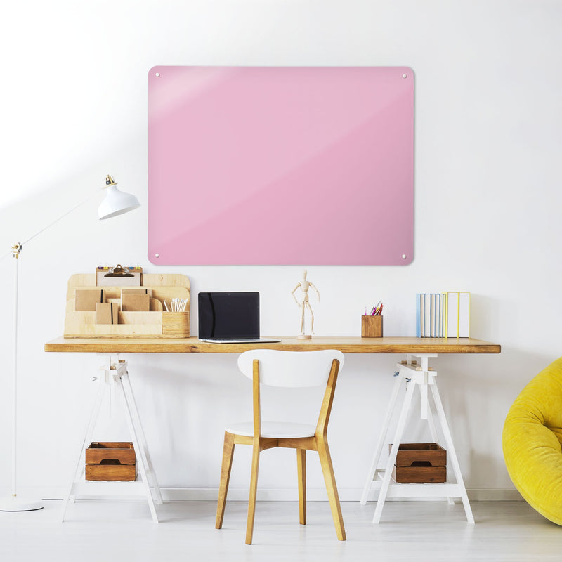 Steel Magnetic Vision Board, Dry Erase Board & Wall Art in Plain Pink