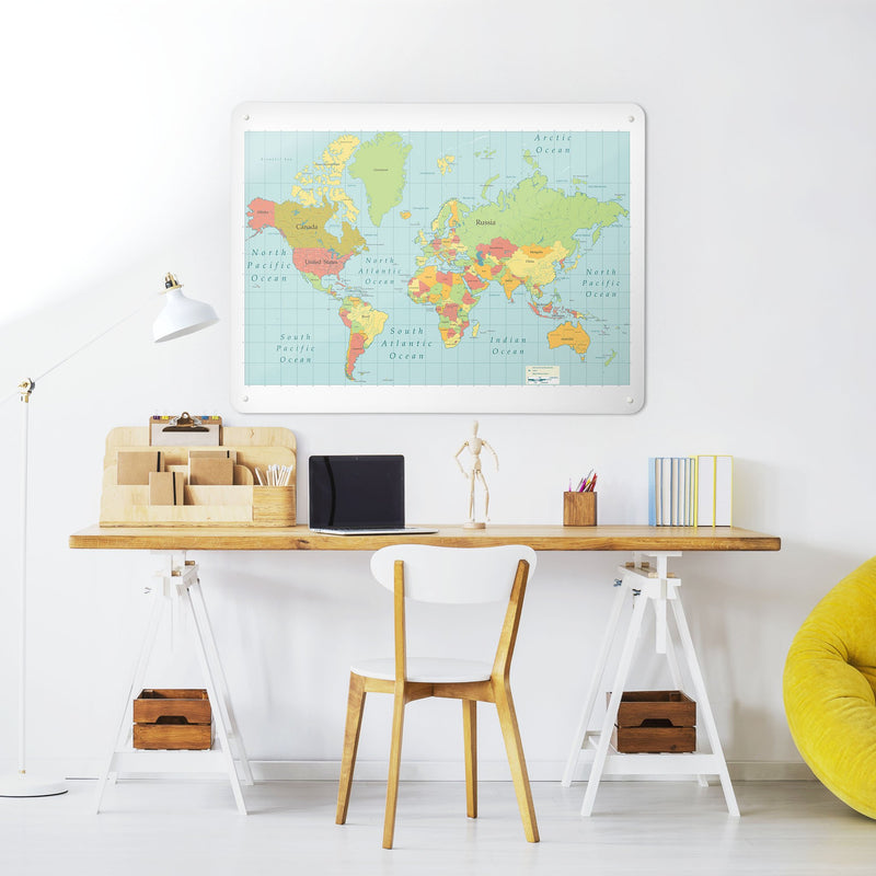 World Map - Large Magnetic Notice Board