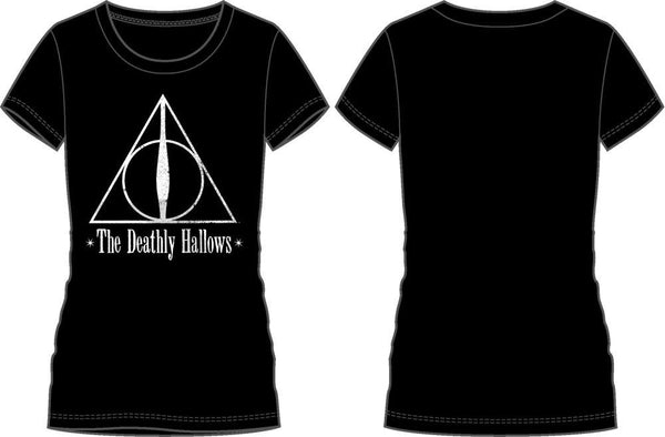 Harry Potter The Deathly Hallows Logo Women's Black T-Shirt - poshopolis