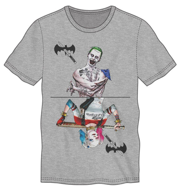 Suicide Squad Joker And Harley Quinn Men's Gray T-Shirt Tee Shirt