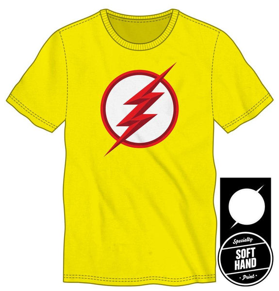 DC Comics Flash Logo Specialty Soft Hand Print Men's Yellow T-Shirt - poshopolis