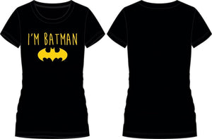DC Comics Batman Yellow Bat I'm Batman Women's T-Shirt - poshopolis